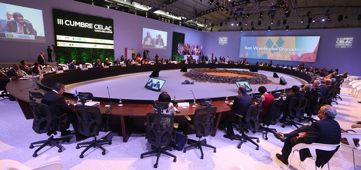Plenario de la Cumbre Celac en San José de Costa Rica. Imagen: Celac
