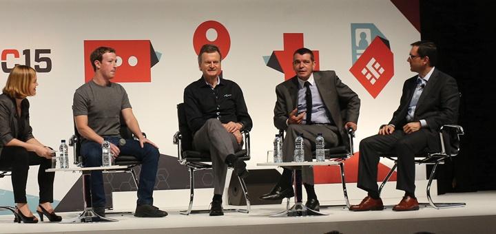 Mark Zuckerberg, Mario Zanotti, Christian De Faria y Jon Fredrik Baksaas en MWC15. Imagen: GSMA