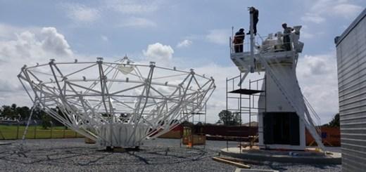 Obras en el Centro Temporario de Operaciones Espaciales. Imagen: Telebras