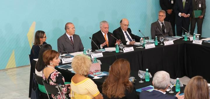 Michel Temer durante su discurso en el Consejo de Desarrollo Económico y Social. Imagen: Mctic.