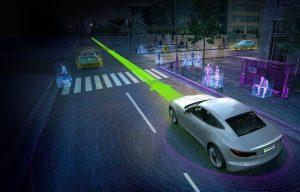Imagem ilustra sensores administrados pelo novo computador para carros da nVidia em ação (Imagem: Divulgação nVidia)