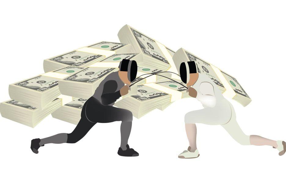 TeleSintese-Disputa-luta-conflito-competicao-dinheiro-briga-ataque-esgrima-Fotolia_141598761