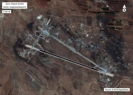 This Oct. 7, 2016 satellite image released by the U.S. Department of Defense shows Shayrat air base in Syria. The United States blasted a Syrian air base with a barrage of cruise missiles on Friday, April 7, 2017 in fiery retaliation for this week's gruesome chemical weapons attack against civilians. (DigitalGlobe/U.S. Department of Defense via AP) [CopyrightNotice: Public Domain]