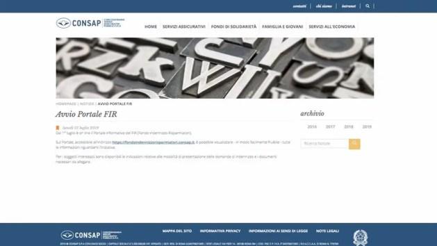 Azzerati, on-line il portale del Consap per gli indennizzi
