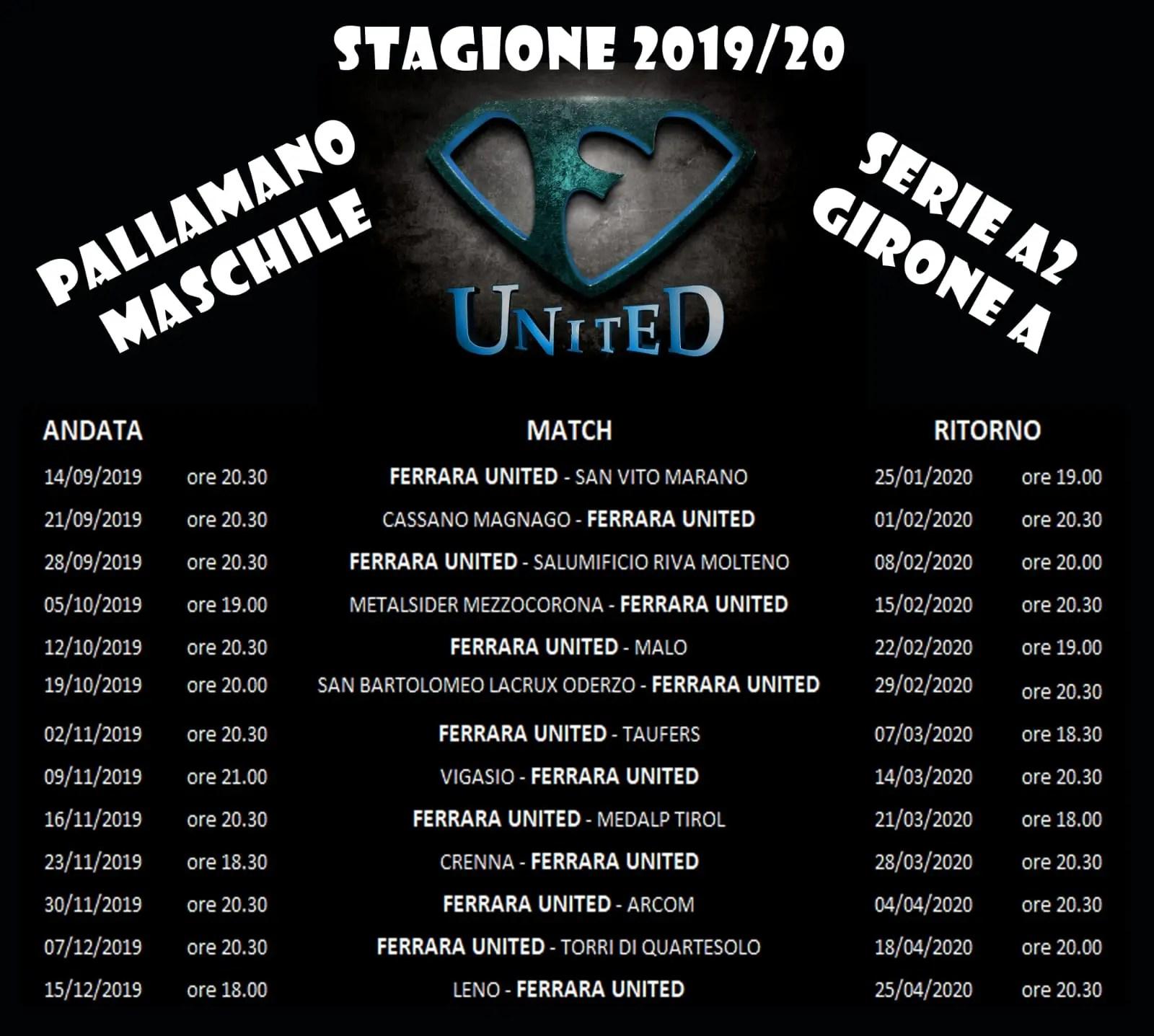 Calendario Maschile 2020.Il Cammino Di Ferrara United Telestense
