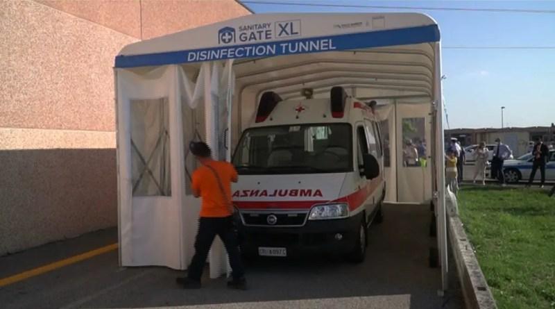 sanitary gate covid coronavirus tunnel sanificante barbieri
