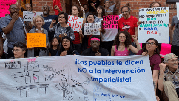 The CODEPINK coalition outside the Venezuelan embassy located in Washington, D.C. May 10, 2019