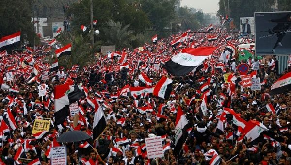 Demonstration against the U.S. military presence in Iraqi territory, Baghdad, Iraq, Jan. 24, 2020.