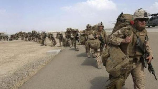 U.S Marines departing the Helmand base in Afghanistan in 2014.
