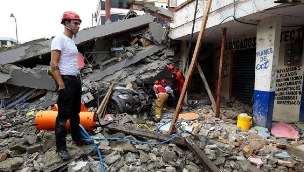 Rescue teams operating in Pedernales, Ecuador.