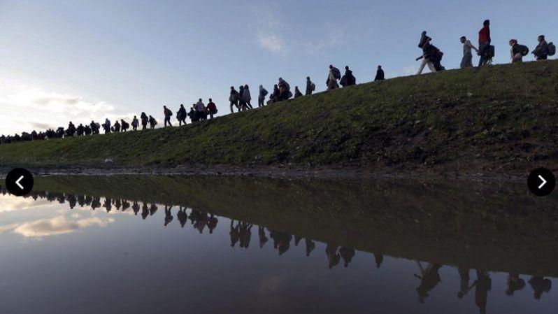 Cientos de refugiados a su paso por Eslovenia.