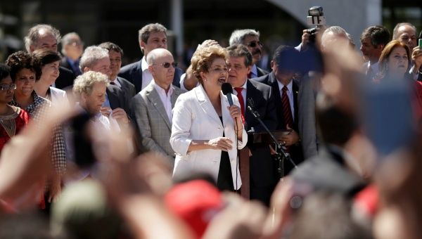 Suspended Brazilian President Dilma Rousseff addresses supporters after the Brazilian Senate voted to impeach her.