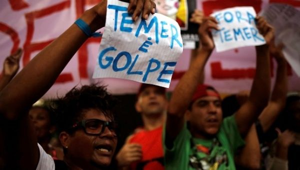 Image result for The Brazilian people demonstrated in the streets after the coup against the constitutional President Dilma Rousseff, and demanded the removal from power of Michel Temer. Photo: TELESUR