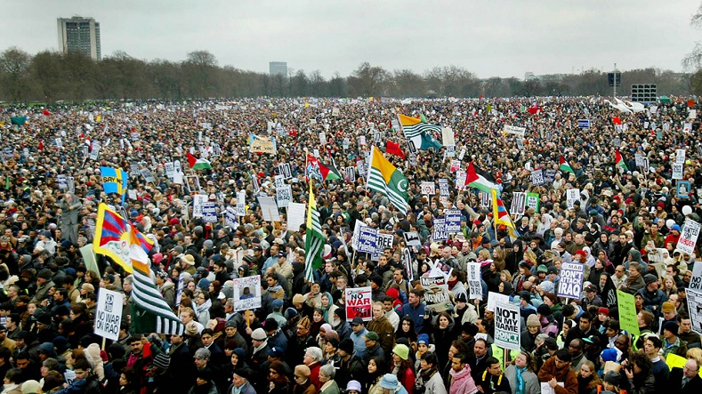Anti-war protesters in Hyde Park during a demonstration against the Iraq invasion on February 15, 2003. The impending war lead to some of the largest anti-war protests in modern history.
