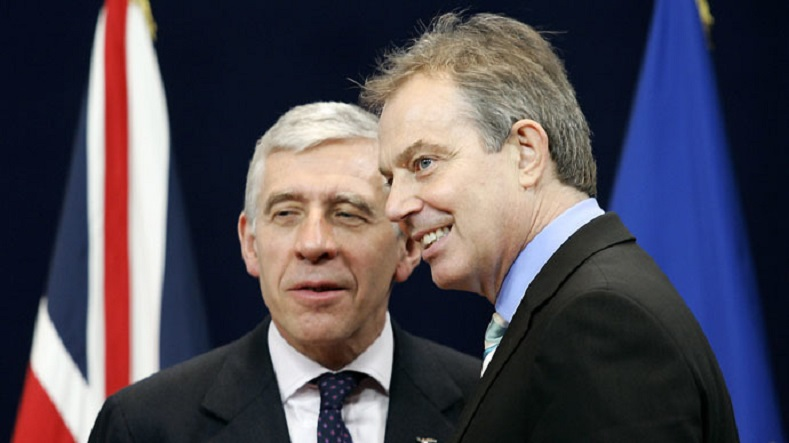 Former British Prime Minister Tony Blair (R) and his Foreign Affairs Secretary Jack Straw, who fully endorsed the decision to launch the imperialist war.
