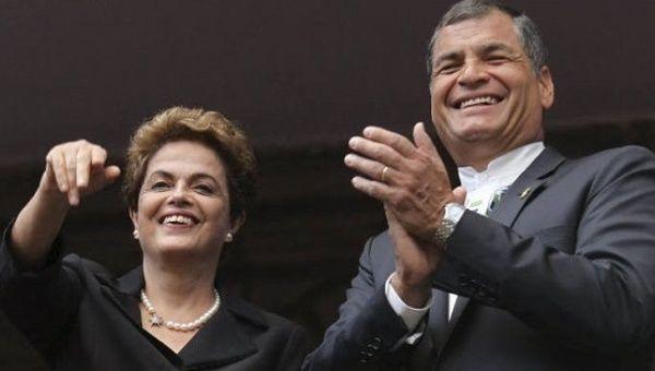 Ousted Brazilian President Dilma Rousseff and Ecuadorean President Rafael Correa