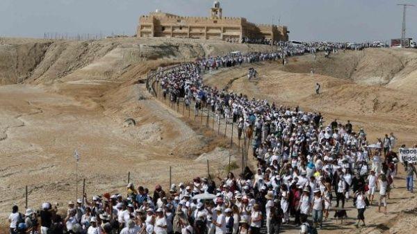 La multitudinaria marcha llegó a la residencia del presidente israelí Benjamin Netanyahu en Jerusalén.