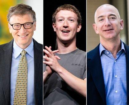 Entre los más ricos se encuentran Bill Gates, fundador de Microsoft; Mark Zuckerberg, cofundador de Facebook, Jeff Bezos (Amazon), el mexicano Carlos Slim (Grupo Carso) y el español Amancio Ortega (Inditex).