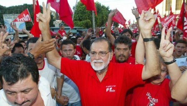 Handal at a FMLN rally in El Salvador