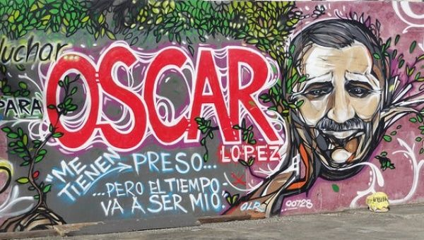 A mural in Barrio Canas, Ponce, Puerto Rico for the freedom of Lopez Rivera