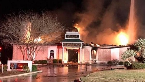 The mosque has been burned completely.