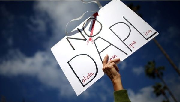 NODAPL sign during a protest near the Standing Rock Sioux Nation, Oct. 27, 2016