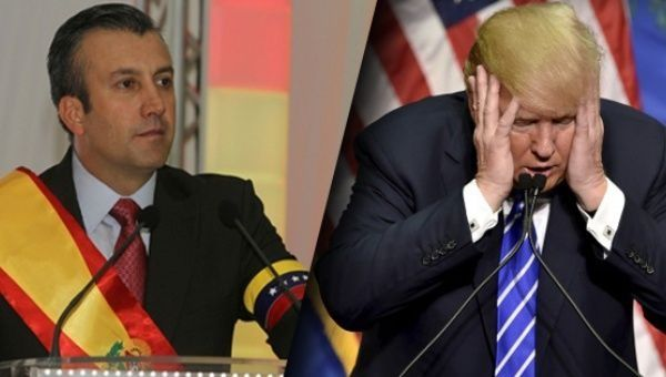 "Venezuelan Vice President Tareck El Aissami (L) and U.S. President"" Donald Trump (R)."