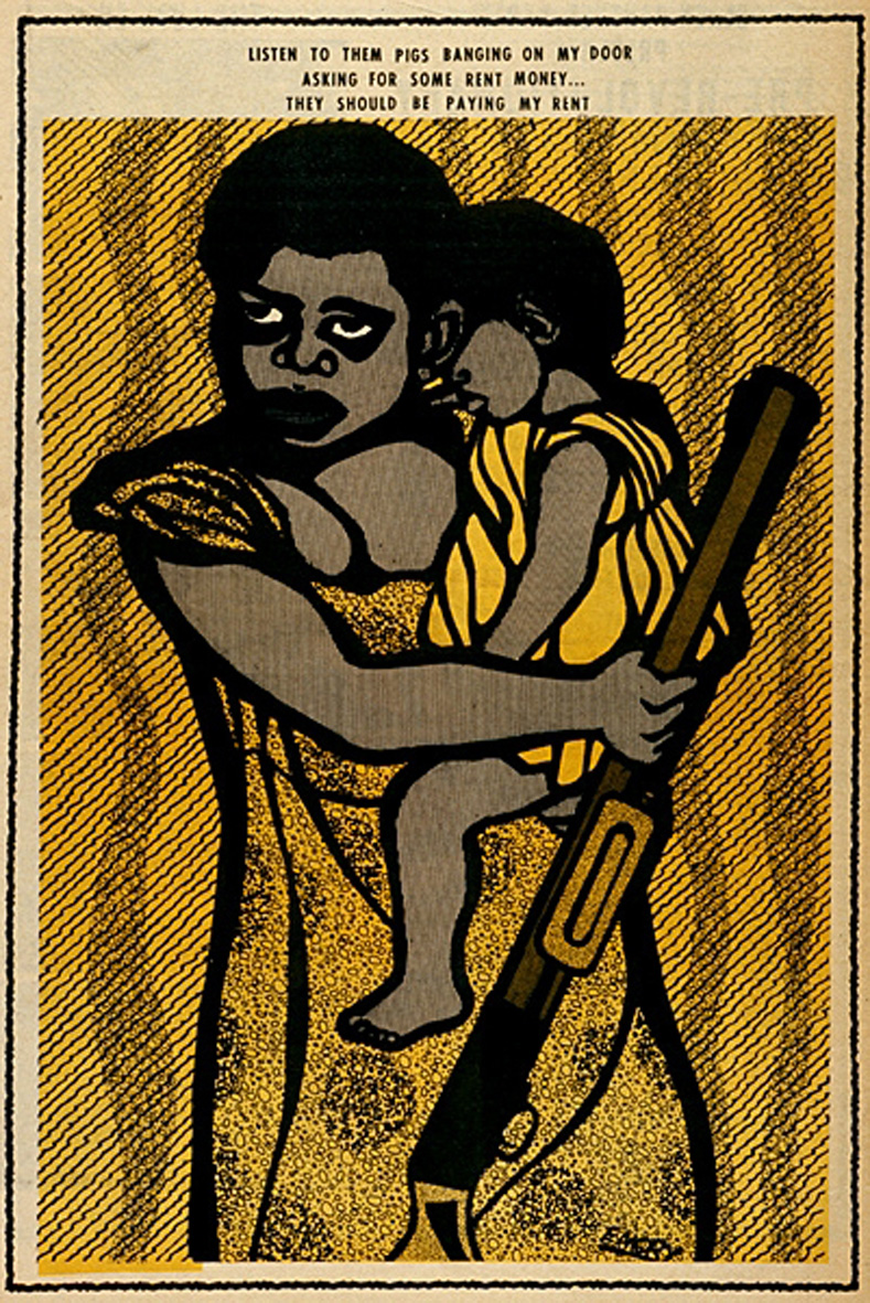 Poster showing women involved in the Black liberation fight by Emory Douglas, Minister of Culture for the Black Panther Party, date unknown.