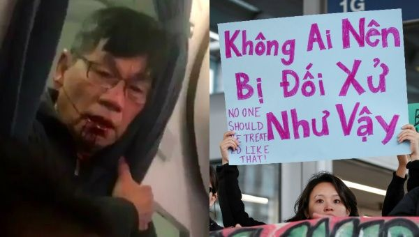 Community member protests the treatment of Dr. David Dao at O