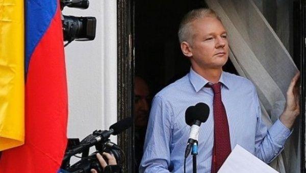 WikiLeaks founder Julian Assange at the Ecuadorean Embassy in London.