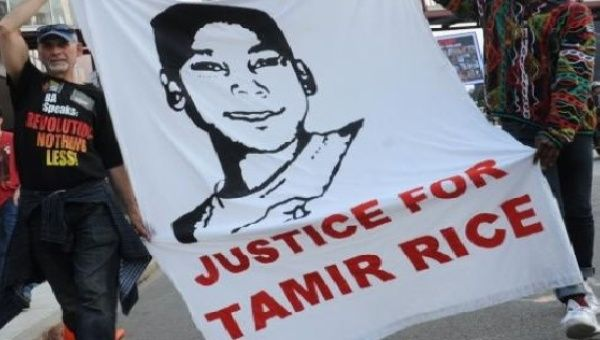 Protests in support of Tamir Rice outside of Quicken Loans Arena prior to game three of the NBA Finals in Cleveland.