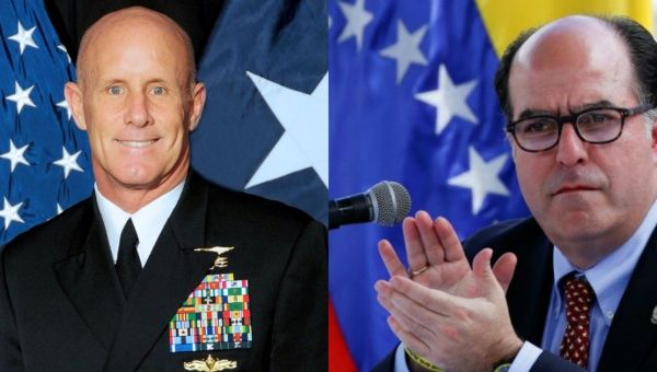 U.S. Army officer and White House national security advisor H.R. McMaster (left) met with Venezuelan National Assembly President Julio Borges (right).