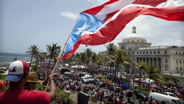 Students protest budget cuts at the University of Puerto Rico.