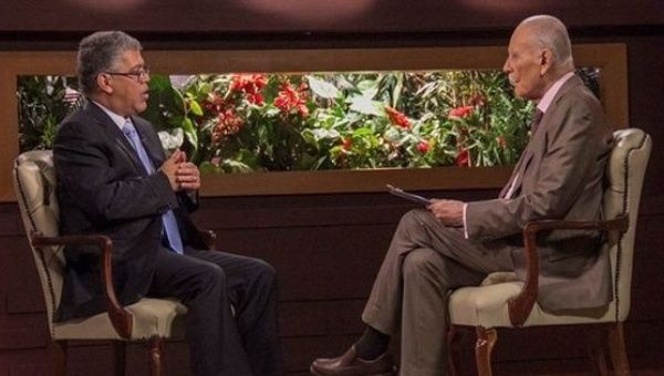 Former Education Minister Elias Jaua speaks in a televised interview on Sunday about the national Constituent Assembly in Venezuela.