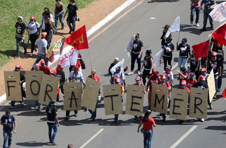 """""""Out with Temer! General election now!"""" chanted the massive crowd, estimated by organizers to number as many as 150,000, a large turnout in the federal district with a population of 3 million."""