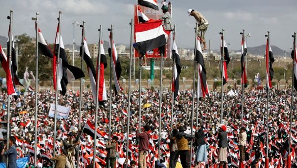 Image result for Houthi movement supporters protest the Saudi led assault on Yemen