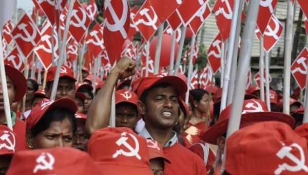 Supporters of the Communist Party of India (Marxist) rally.