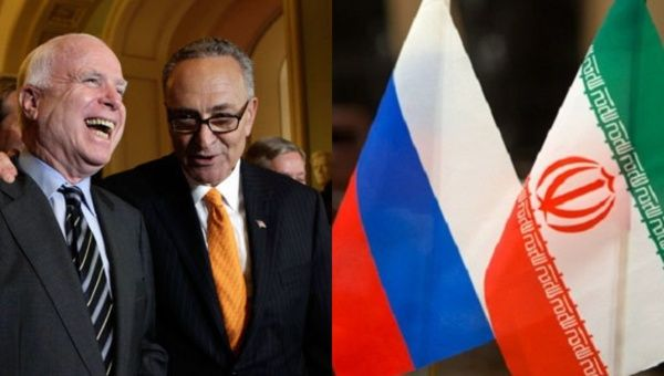 U.S. Senators John McCain (L), a Republican, and Chuck Schumer (R), a Democrat, both heartily supported the sanctions bill.