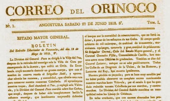 Resultado de imagen para Fotos del del periódico Correo del Orinoco, fundado por Simón Bolívar.