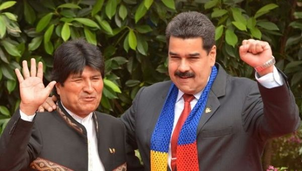 Bolivian President Evo Morales (L) with Venezuelan President Nicolas Maduro (R).