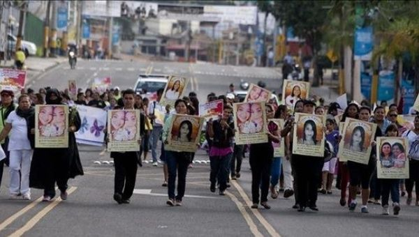 Women in Honduras took part in a protest against femicide in the capital city of Tegucigalpa in March