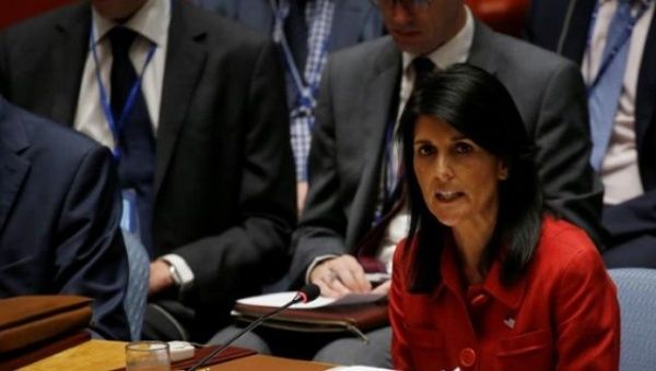 U.S. Ambassador to the United Nations Nikki Haley addresses the U.N. Security Council as it meets to discuss the recent ballistic missile launch by North Korea at U.N. headquarters in New York, U.S., July 5, 2017.