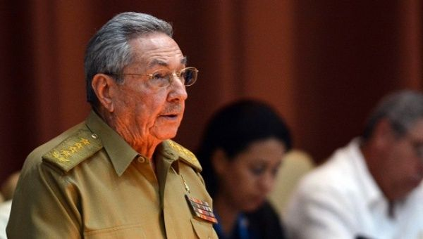 Cuban President Raul Castro gives a speech during the first ordinary meeting of the National Assembly of Power Popular in Havana, Cuba, on July 14, 2017.