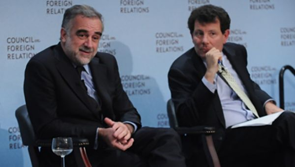 Luis Moreno Ocampo (L) discusses human rights with New York Times columnist Nicholas Kristof (R) at the CFR Symposium on International Law and Justice sponsored by the Pitt-Jolie Foundation.