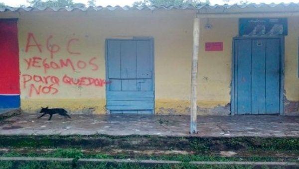"""Casas en San José de Apartado han sido vandalizados con el mensaje, """"El AGC ha venido a quedarse."""""""