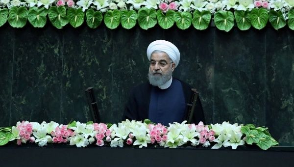 Iranian president Hassan Rouhani attends his swearing-in ceremony for a further term, at the parliament in Tehran, Iran, August 5, on 2017.