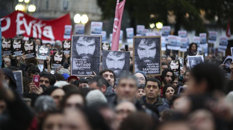 Maldonado quiso solidarizarse con una protesta mapuche que reclamaba por la libertad de su líder, Facundo Jones Huala.