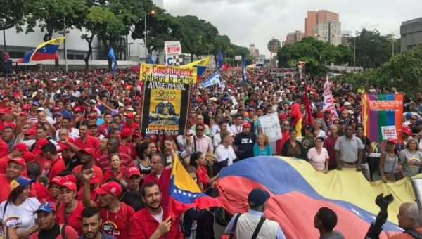 People in Venezuela march against threats by U.S. President Donald Trump to militarily intervene in the country.