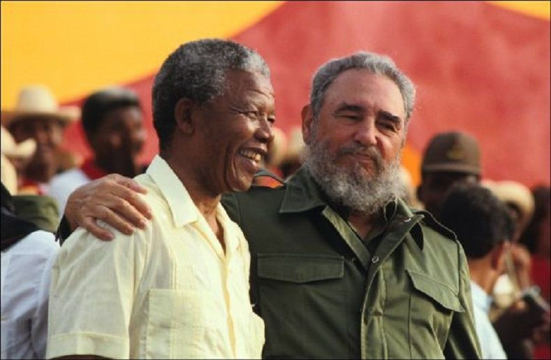 Nelson Mandela with Fidel Castro in Matanzas, Cuba in 1991.