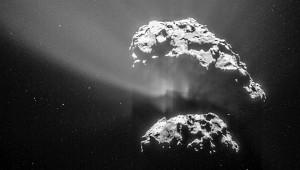 A Rosetta űrszonda navigációs kamerájánának március 6-i felvétele a Csurjumov-Geraszimenko üstökös magjáról Forrás: ESA/Rosetta/NAVCAM